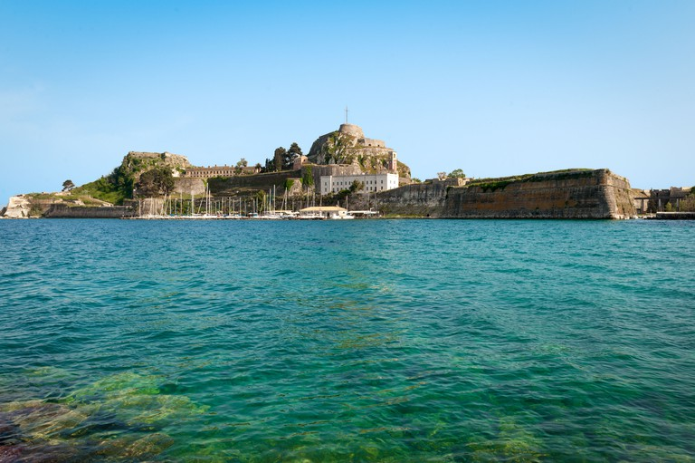 The Old Castle in Corfu Town on the Greek island of Kerkyra (Corfu) in the Adriatic Sea, Pictured from the Sea