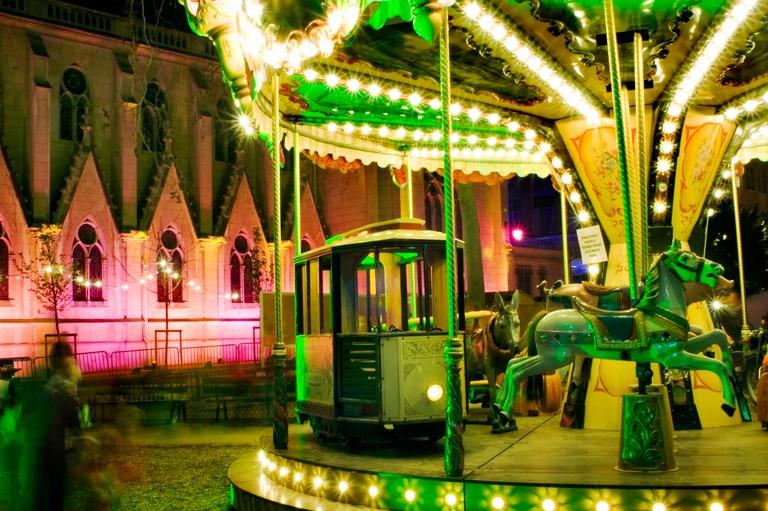 """Paris France, Christmas Time, """"Les Feeries d'Auteuil"""" """"Fondation d'Auteuil"""" Old """"Merry go Round"""" Amusement"""