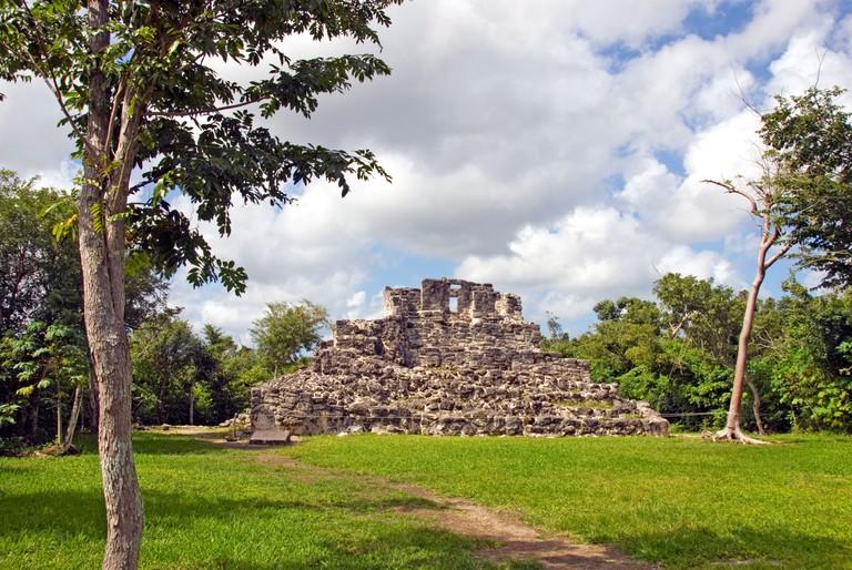A7704G Mexico Cozumel San Gervasio Mayan ruins stone structure