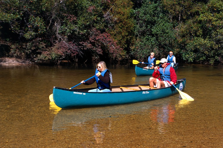A canoeing expedition takes these intrepid explorers along the waters of the Blackwater canoe trail in Milton