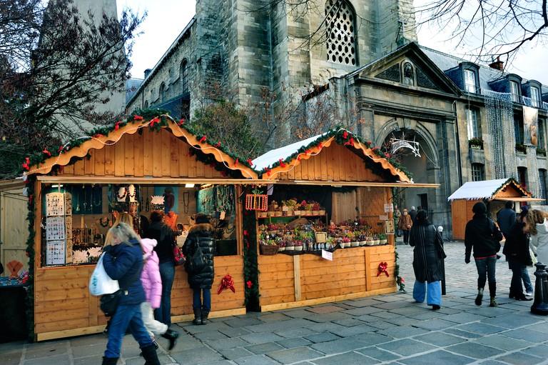 "Paris, France, Christmas Shopping, Crowd at Traditional Christmas Market, ""Saint Germain des Pres"" Church"