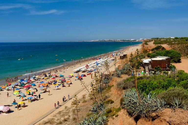 Portugal, the Algarve, Praia da Rocha Baixinha beach near Vilamoura in summer. Image shot 2016. Exact date unknown.
