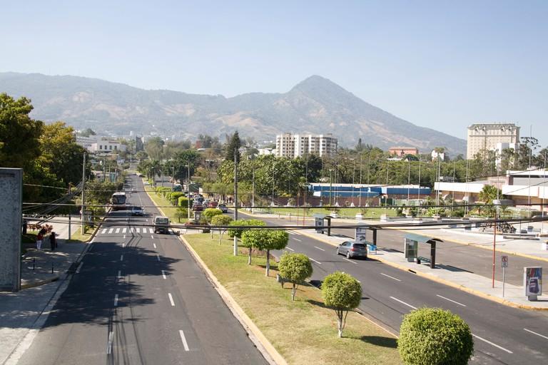 Avenida de la Revolucion with the San Salvador volcano in the background, El Salvador