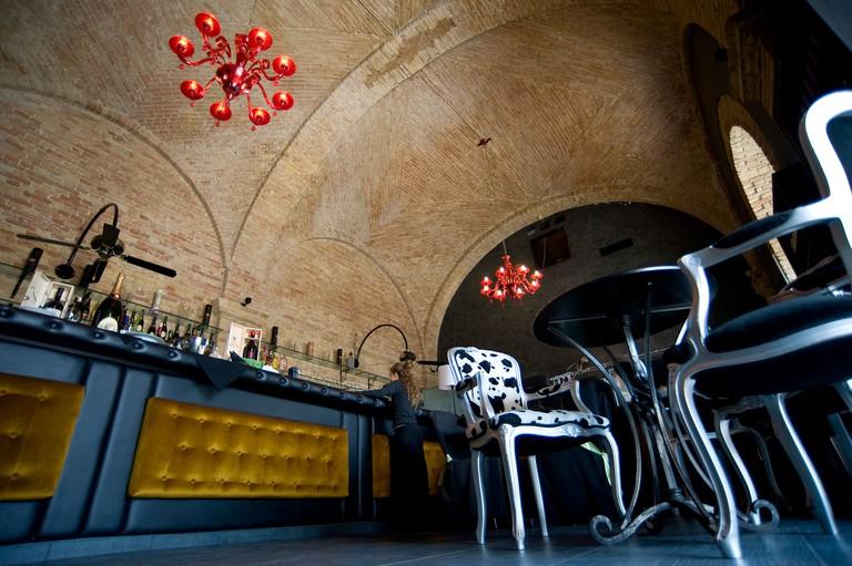 Caffe degli Spiriti cafe, Bastione S.Remy, Castello, Cagliari, Sardinia, Italy, Europe