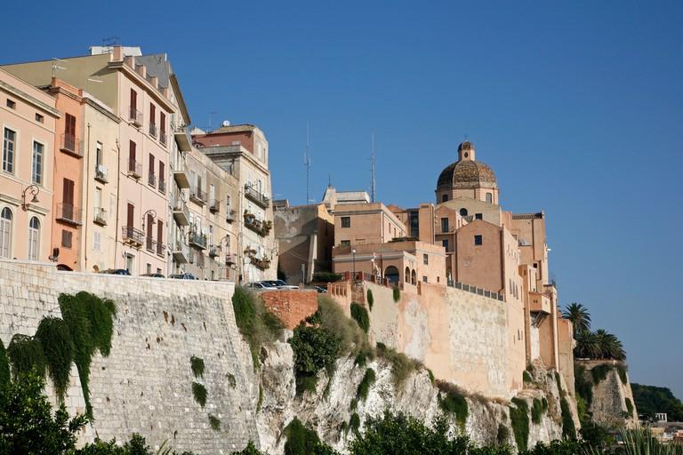View over the city walls and Santa Maria Cathedral at the Castello area, Cagliari, Sardinia, Italy.