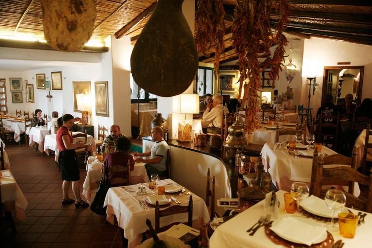 C9CKCF The upmarket Su Gologone restaurant located few km outside of Oliena, Nuoro Province, Sardinia, Italy.