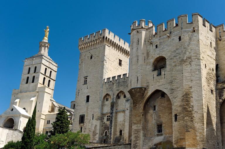 France, Vaucluse, Avignon, Place du Palais des Papes, Palais des Papes listed as World Heritage by UNESCO, Notre Dame des Doms