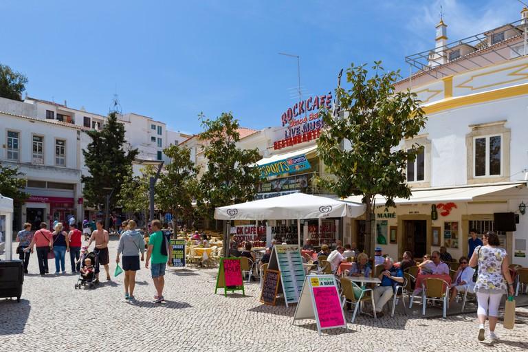 Cafes and bars in the Praca da Republica (Main Square) in the old town centre, Albufeira, Algarve, Portugal