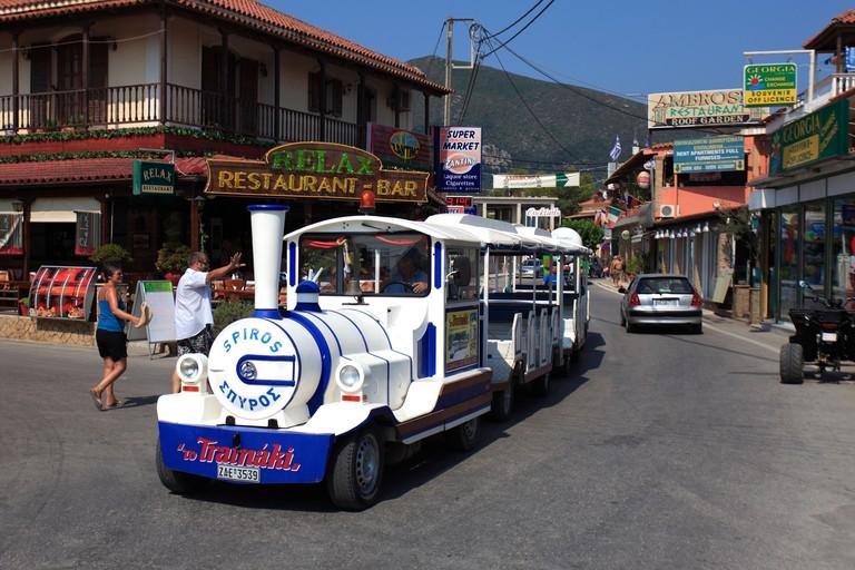 Tourist train Alikes resort Zakynthos Island Greece