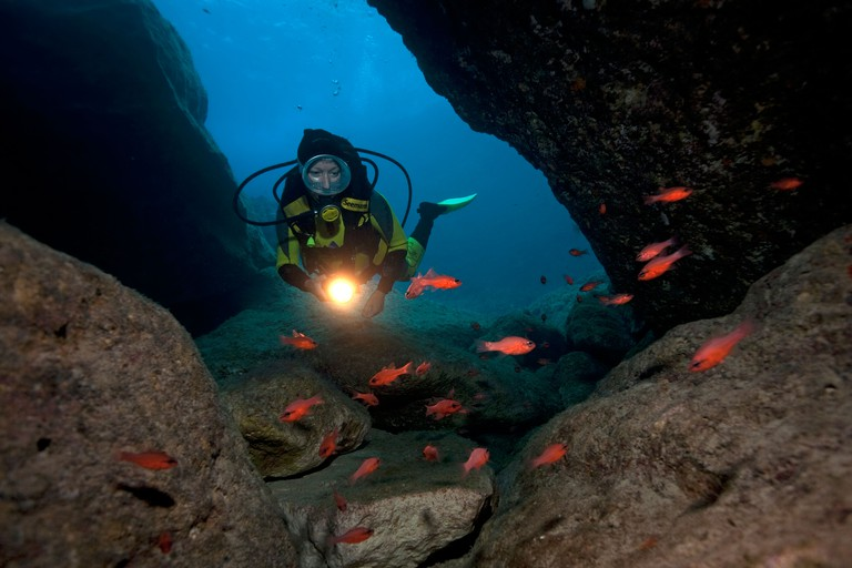 Scuba diver at the entrance of an underwater cave, red reef fish (anthias), Zakynthos, Greece, Europe