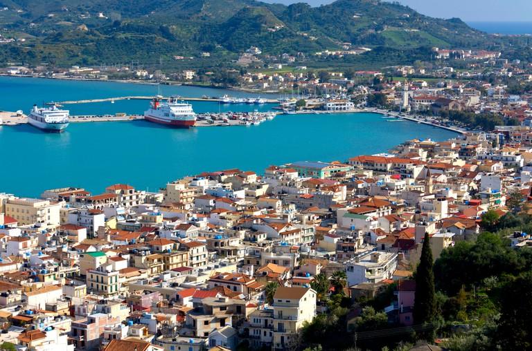 Zakynthos island at ionio sea in Greece. View from Mpochali hill