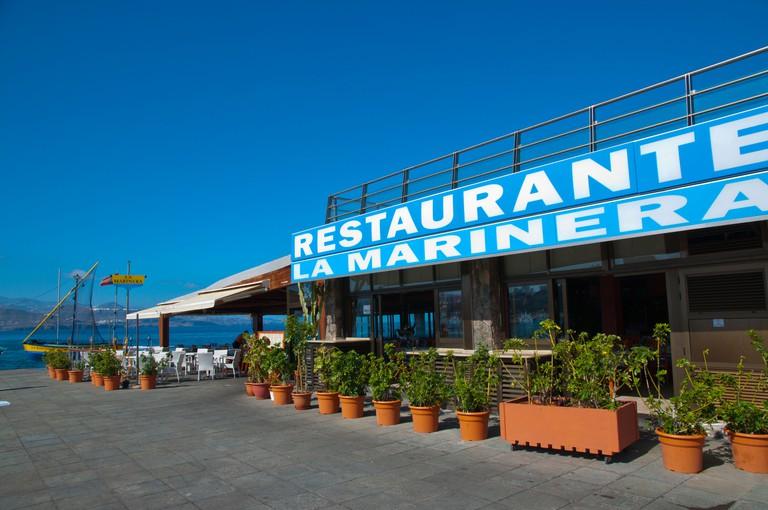 Outside La Marinera restaurant La Puntilla area Las Palmas de Gran Canaria city Gran Canaria island the Canary Islands Spain