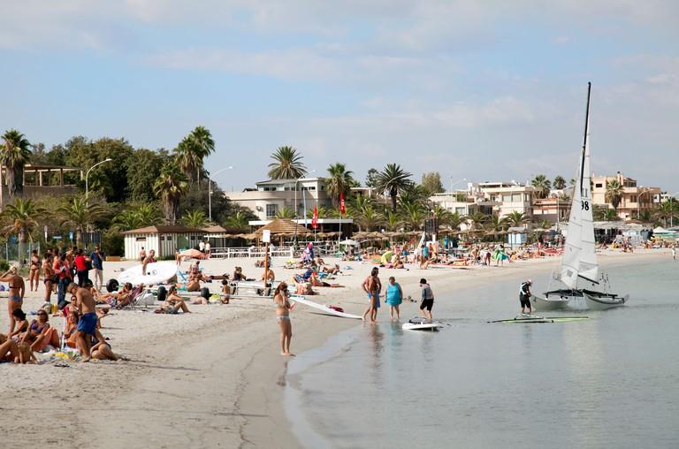 Poetto Beach by Marina in Cagliari in Sardinia