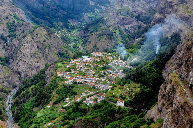 Madeira Portugal looking down into the village of Curral das Freiras also known as Nuns valley