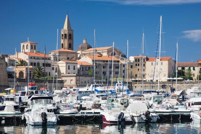 Port of Alghero, overlooking the historic town, Sassari Province, Sardinia, Italy, Europe