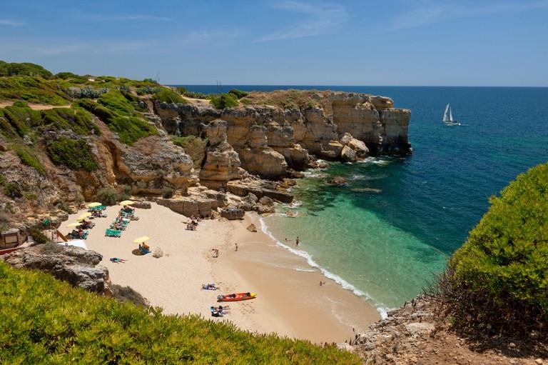 Portugal, the Algarve Praia da coelha. Image shot 2017. Exact date unknown.