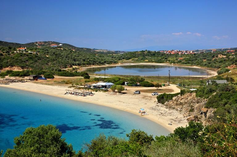 "Alykes (""saltworks"") beach, Ammouliani island, Halkidiki (""Chalkidiki""), Macedonia, Greece."