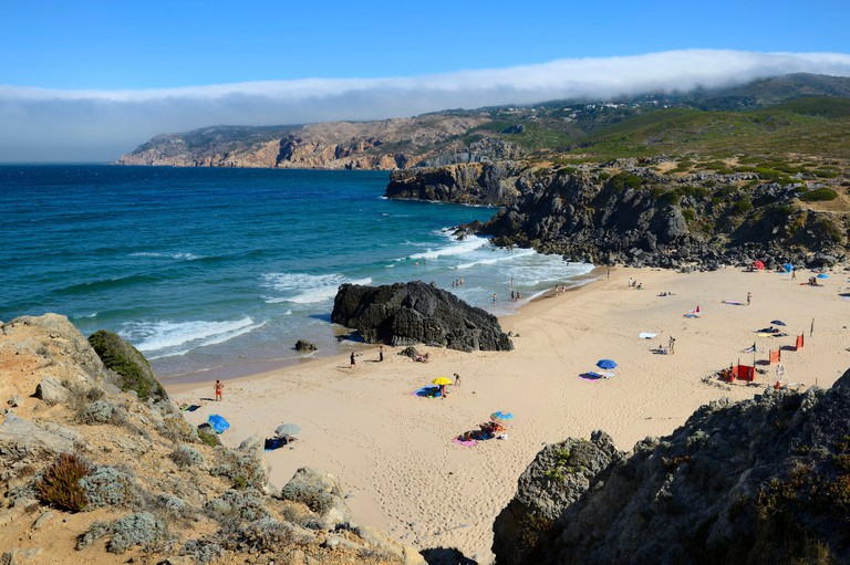 Portugal Lisbon region Cascais small wild beach of Abano north of Guincho beach on the Estoril Coast