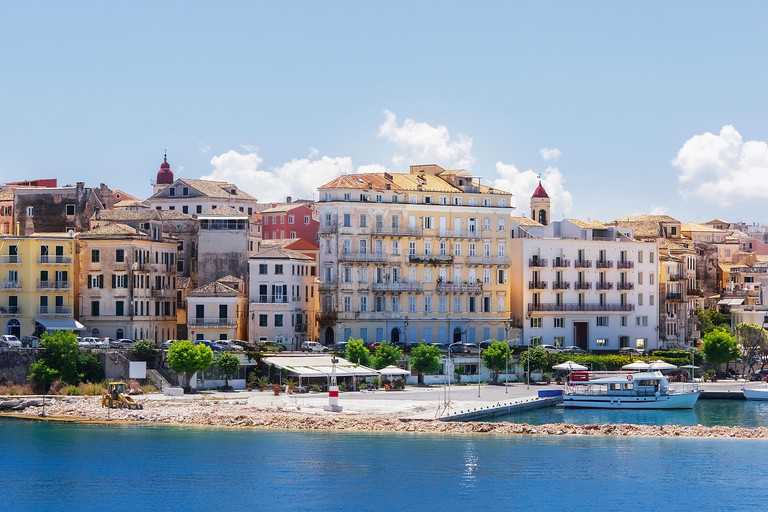 Corfu, capital town of Corfu island. A view of Corfu Town, the capital of the island of Kerkyra, or Corfu, seen from the sea