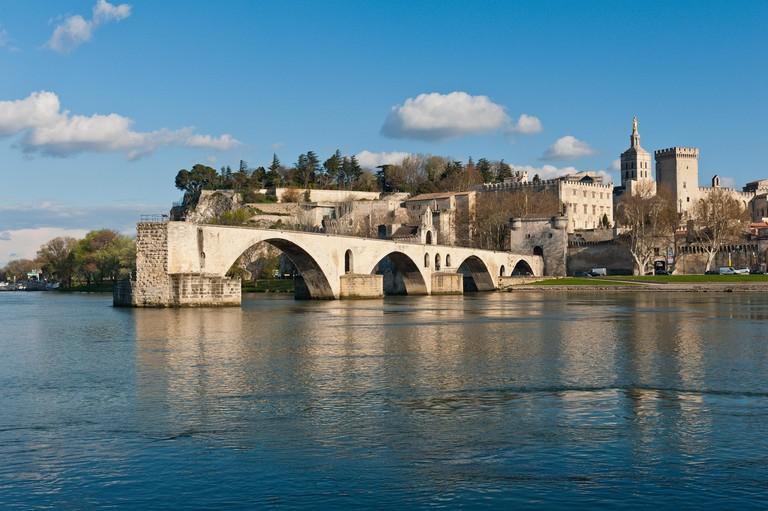 An old bridge that used to cross the River Rhone at Avignon, Provence, France.  The Pont Saint-Benezet also known as the Pont d'Avignon. Broken Bridge