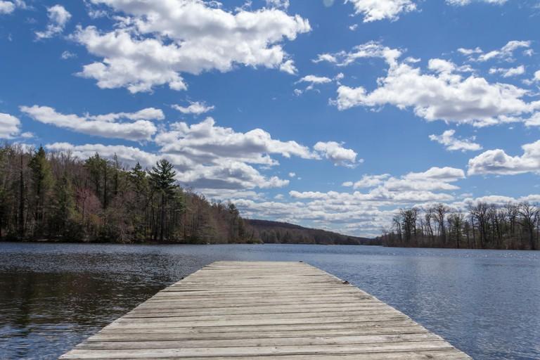 EP4N4M Dock stretches across Wawayanda Lake in early springtime