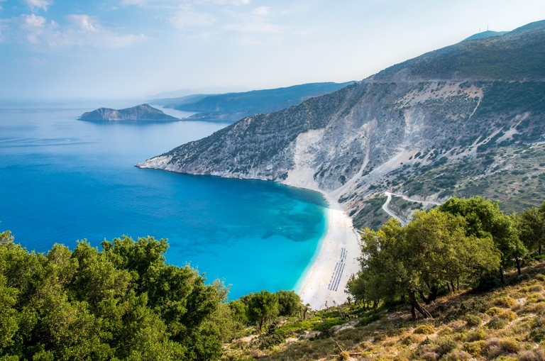 Myrtos beach, Kefalonia island, Greece. Aerial view