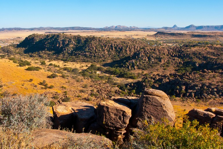 USA, Fort Davis, Texas, Davis Mountains State Park, view from Skyline Drive Overlook over Sleeping mountain to Mitre Peak.