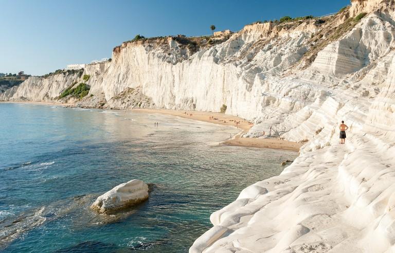 """The white cliff called """"Scala dei Turchi"""" in Sicily, near Agrigento"""
