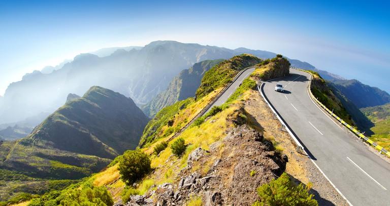Alpine road from Encumeada Pass to plateau Paul da Serra, Madeira Island, Portugal