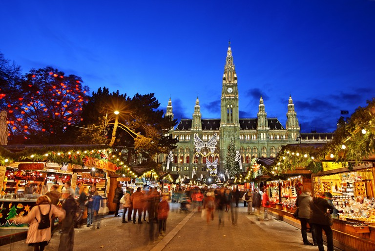 The Christmas market in front of the Rathaus (City hall) of Vienna, Austria.