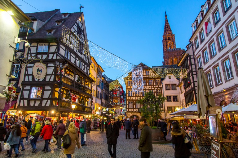 Christmas time in Strasbourg, Alsace, France, Xmas illumination, Christmas market in the old town,