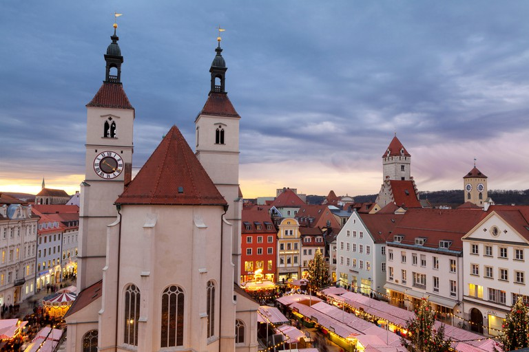 Overview of the Christmas Market in Neupfarrplatz, Regensburg, Bavaria, Germany