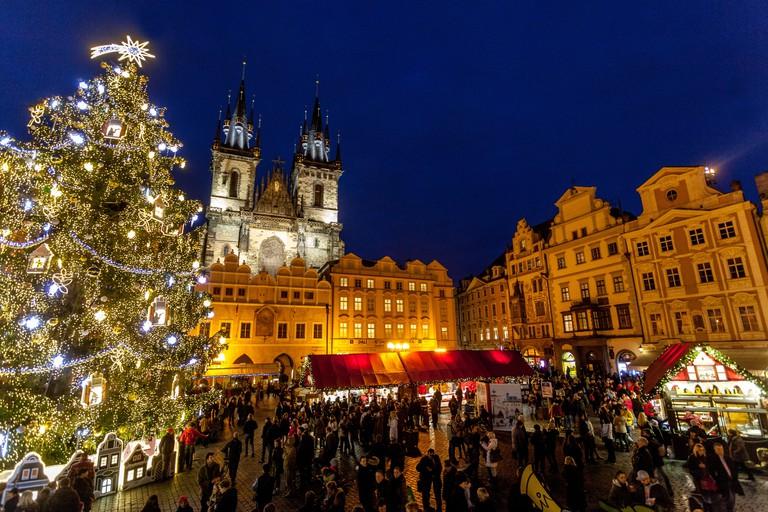 Prague Christmas market Old Town Square. Prague, Czech Republic Europe