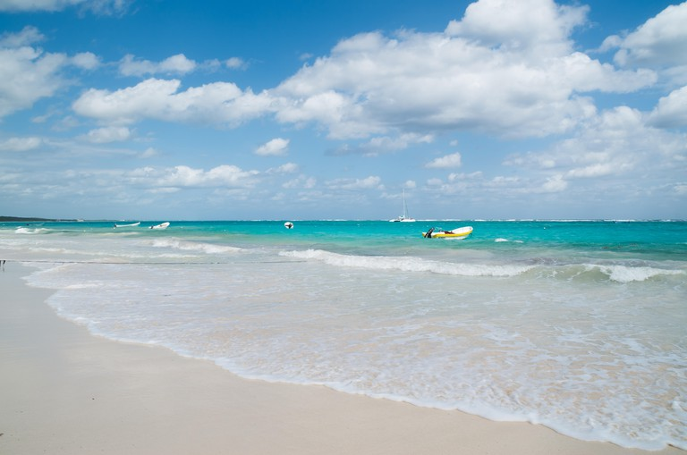 Playa Las Palmas beach near Tulum in the Riviera Maya region of Mexico on a sunny day before a storm set in.