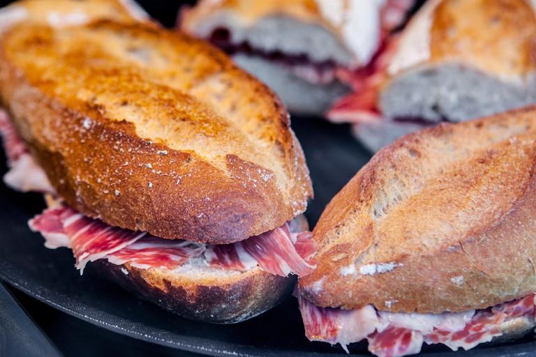 Closeup of a spanish bocadillos of cured ham or  ham serrano sandwich