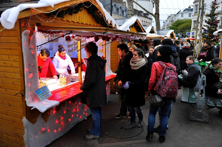 Christmas, Christmas market in Abbesses street, Montmartre, Paris. Image shot 2015. Exact date unknown.