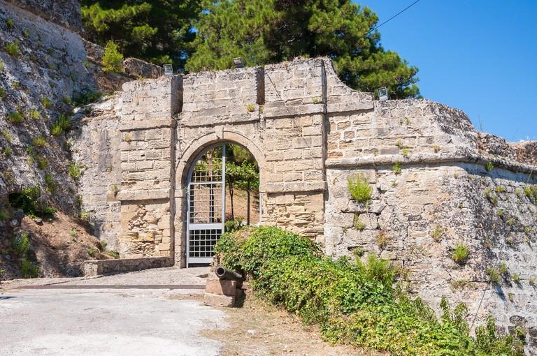 Gate to the Venetian Castle Bohali in Zakynthos city, Greece