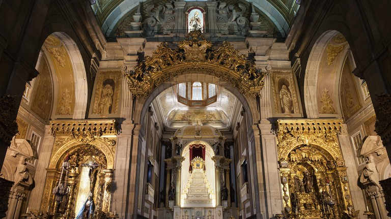 Interior of Saint Anthony Church Congregados (Igreja de Santo Antonio Congregados) in Porto, Portugal, high altar