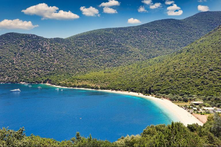 The famous beach Antisamos in Kefalonia island, Greece