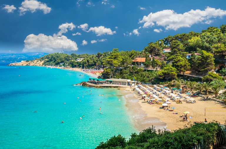 Platis Gialos and Makris Gialos beaches near Lassi, Argostoli. Kefalonia Island, Greece.