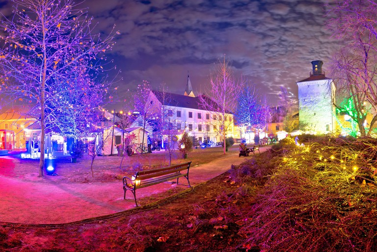 Zagreb upper town christmas market evening view, historic architecture of capital of Croatia