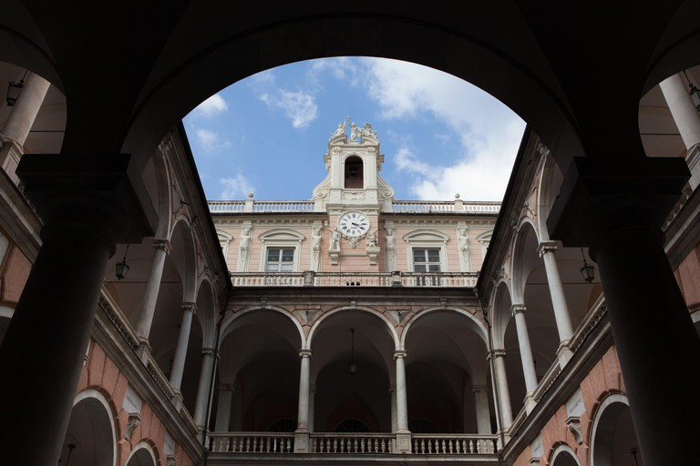 Palazzo Doria-Tursi, also known as the Palazzo Niccolo Grimaldi in Genoa, Liguria, Italy. The palace is now used as the city municipality as well as one of the three buildings of the Musei di Strada Nuova (Museums of Strada Nuova).