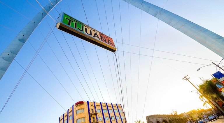 The Millennial Arch (Arco y Reloj Monumental), a metallic steel arch at the entrance of the city of Tijuana in Mexico, at zona centro a symbol of union and vigor to the new millennium and a landmark that welcomes tourists in Avenida de revolucion with a s