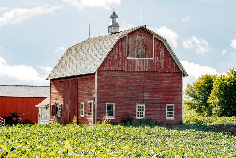 red barn, windows, red wood