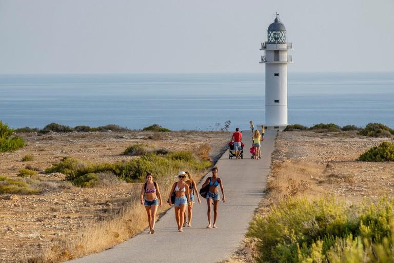 Lighthouse, Cabo de Berberia, Formentera, Balearic Islands, Spain.
