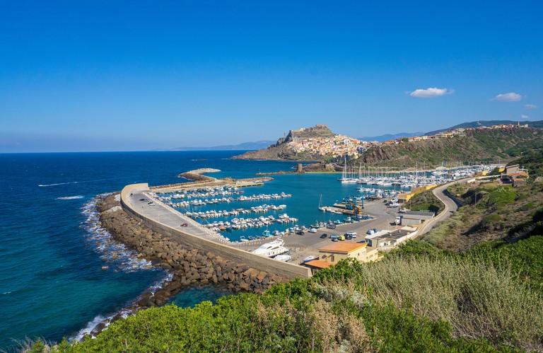 View on harbour and Castelsardo, Sardinia, Italy, Mediterranean sea, Europe