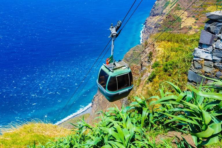KR4DHH Achadas da Cruz cable railway. Porto Moniz. Madeira, Portugal, Europe.