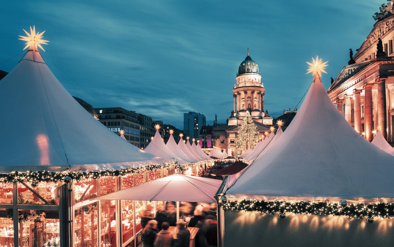 Christmas market in Berlin, square composition, toned image