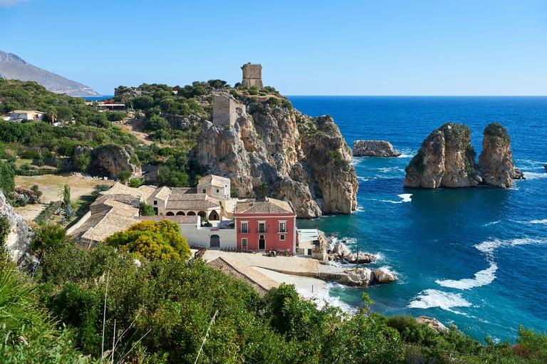 The tonnara of Scopello (Tonnara di Scopello) Old Tuna processing buildings on the Castellammare del Golfo, Sicily