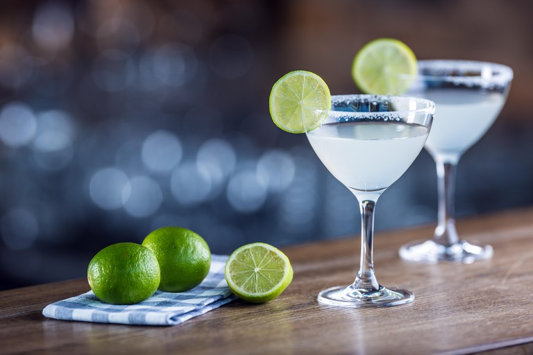 Margarita. Margatita alcoholic cocktail drink on barcounter in pub or restaurant.